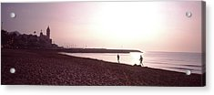 People Jogging On Beach, Sitges Acrylic Print