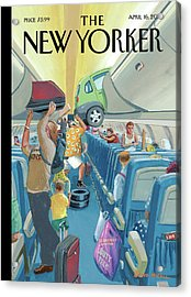 People On An Airplane Putting Various Items Acrylic Print