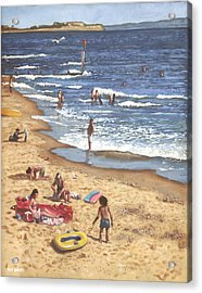 people on Bournemouth beach Blue Sea Acrylic Print