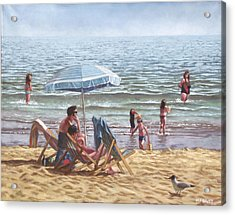 People On Bournemouth Beach Parasol Acrylic Print by Martin Davey