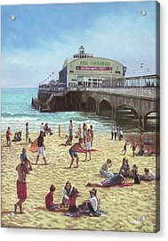 people on Bournemouth beach Pier theatre Acrylic Print