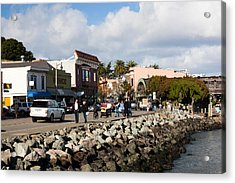 People On The Bridgeway Street Acrylic Print by Panoramic Images