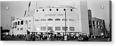 People Outside A Baseball Park, Old Acrylic Print by Panoramic Images