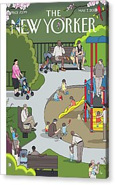 People Playing At A Playground Withtheir Kids Acrylic Print by Chris Ware