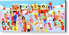 People Shopping And Eating In Vibrant Acrylic Print by Christopher Corr