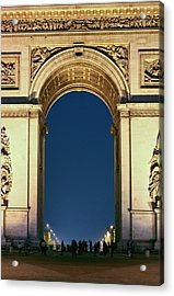 People Standing Under The Arc De Acrylic Print by William Sutton