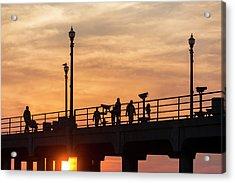 People Walking On Pier Acrylic Print by Roberto Lopez