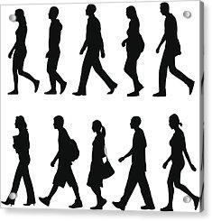 People Walking Acrylic Print by Rangepuppies