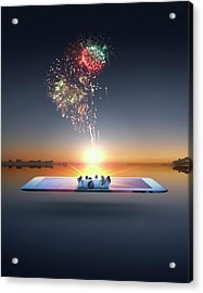 People Watching Fireworks Erupt From Acrylic Print by Colin Anderson Productions Pty Ltd