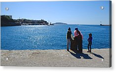 Family Watching The Sea  Acrylic Print