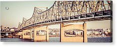 Peoria Illinois Bridge Retro Panorama Photo Acrylic Print