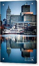 Peoria Illinois Cityscape And Riverboat Acrylic Print