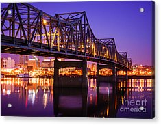 Peoria Illinois Murray Baker Bridge At Night Acrylic Print