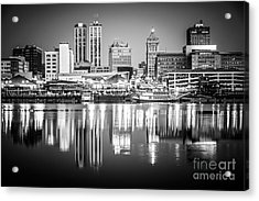 Peoria Illinois Skyline At Night In Black And White Acrylic Print