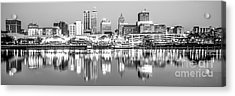 Peoria Skyline Panorama Black And White Photo Acrylic Print