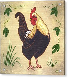 Pepper The Rooster Acrylic Print by Linda Mears