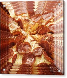 Pepperoni Pizza 25 Pyramid Acrylic Print by Andee Design