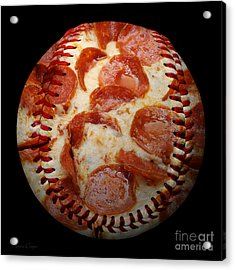 Pepperoni Pizza Baseball Square Acrylic Print