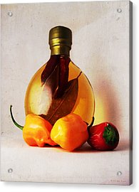 Peppers And Oil Acrylic Print by Shawna Rowe