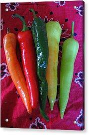 Peppers On Red Bandana Acrylic Print