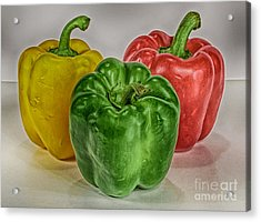 Peppers Together Hdr Acrylic Print by Mitch Johanson