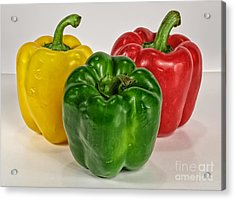 Peppers Together Acrylic Print by Mitch Johanson