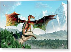 Perched Dragon Acrylic Print by Daniel Eskridge