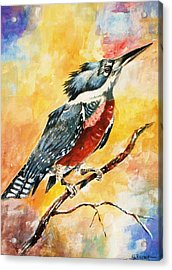 Acrylic Print featuring the painting Perched Kingfisher by Al Brown
