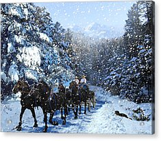 Percheron Team In Snow Acrylic Print by Ric Soulen