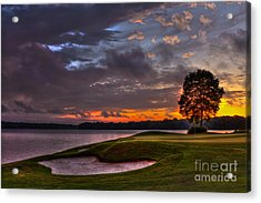 Perfect Golf Sunset In Reynolds Plantation Acrylic Print by Reid Callaway