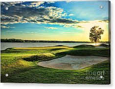 Perfect Golf Sunset Acrylic Print by Reid Callaway