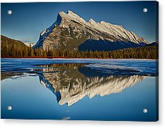 Perfect Reflection Of Rundle Mountain Acrylic Print