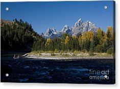 Perfect Spot For Fishing With Grand Teton Vista Acrylic Print by Karen Lee Ensley