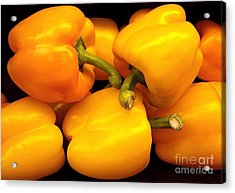 Perfect Yellow Peppers Acrylic Print by Kathy Baccari