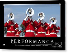 Performance Inspirational Quote Acrylic Print by Stocktrek Images