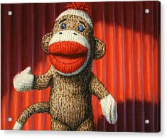 Performing Sock Monkey Acrylic Print by James W Johnson