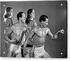 Performing Troupe Strike Pose Acrylic Print by Underwood Archives
