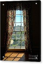 Period Window With Floral Curtains Acrylic Print