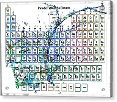 Periodic Table Colorful Liquid Splash Acrylic Print by Eti Reid