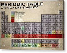 Periodic Table Half Lifes Acrylic Print