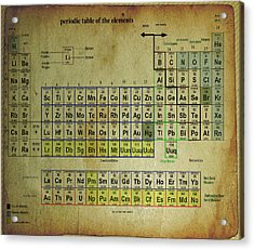Acrylic Print featuring the mixed media Periodic Table Of Elements by Brian Reaves