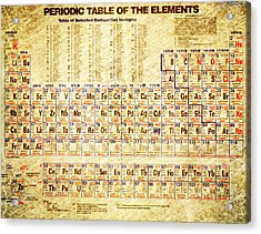 Periodic Table Of The Elements Vintage White Frame Acrylic Print by Eti Reid