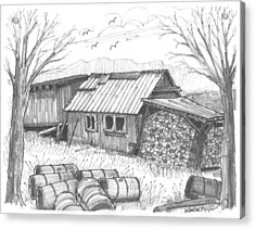 Acrylic Print featuring the drawing Perkins Maple Sugar House by Richard Wambach