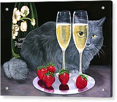 Acrylic Print featuring the painting Perrier Jouet Et Le Chat by Karen Zuk Rosenblatt
