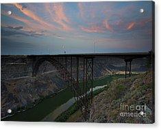 Perrine Bridge Sunset Acrylic Print by Mike  Dawson