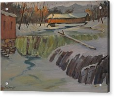 Acrylic Print featuring the painting Perrines Covered Bridge by Len Stomski