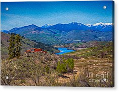 Acrylic Print featuring the painting Perrygin Lake In The Methow Valley Landscape Art by Omaste Witkowski