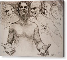 Acrylic Print featuring the drawing Persecution Sketch by Jani Freimann