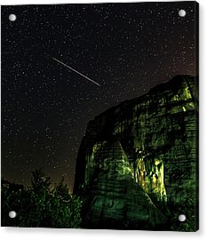 Perseid Meteor Track Over Meteora Acrylic Print