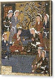 Persian Manuscript, 1650. Court Acrylic Print by Everett